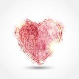 与闪闪发光的水彩心脏在灰色背景 免版税库存图片