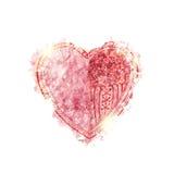 与闪闪发光的水彩心脏 免版税库存照片
