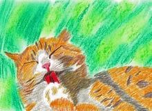 与闭合的眼睛的橙色白色猫 库存图片