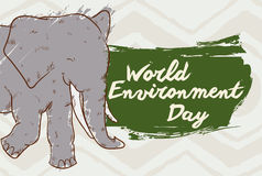 与问候的大象签到世界环境日的绘画的技巧,传染媒介例证 向量例证