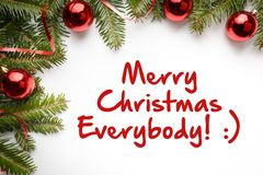 与问候`圣诞快乐的圣诞节装饰大家!:` 图库摄影