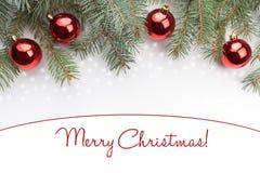 与问候`圣诞快乐的圣诞节装饰! ` 图库摄影