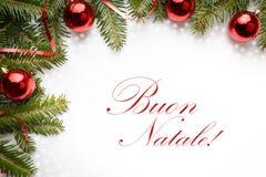 与问候` Buon Natale `的圣诞节装饰用意大利语 图库摄影