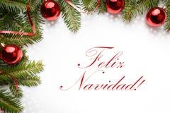 与问候` Feliz Navidad的圣诞节装饰! `用西班牙语 免版税库存照片