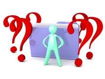与问号和动画片人的未知的文件夹 免版税库存照片