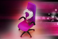 与问号的一把空的椅子 图库摄影