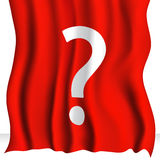 与问号的红色布料 免版税库存照片