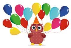 与闷热气球的一头愉快的猫头鹰 图库摄影