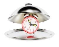 与闹钟的服务钓钟形女帽 免版税库存照片