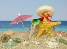 与阔边帽和阳伞的海星 库存照片