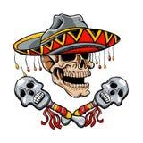 与阔边帽和maracas的头骨墨西哥样式 库存例证