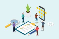 与队人和清单剪贴板-传染媒介的等量3d反馈企业规定值星概念 库存例证