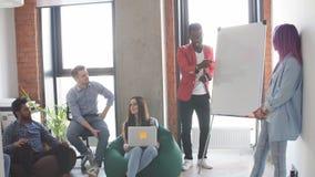 与队训练flipchart办公室的业务会议介绍 影视素材