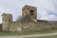 与防御墙壁和塔的古老城堡 库存照片