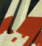 与防锈涂料的桥梁柱子 免版税库存图片