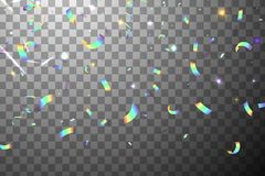 与阳光强光的落的发光的闪烁彩虹五彩纸屑被隔绝的 呈虹彩的背景 滤网全息照相的箔 向量例证