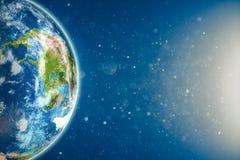 与阳光的地球 图库摄影