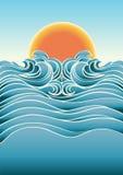 与阳光的海景抽象背景。传染媒介  皇族释放例证
