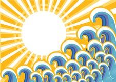 与阳光的海运图象。向量 向量例证