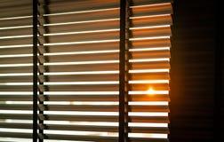 与阳光的被打开的威尼斯式塑料窗帘早晨 与窗帘的白色塑料窗口 客厅室内设计 免版税库存照片
