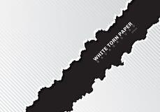 与阴影和样式对角线纹理的白色被撕毁的纸的边缘在与拷贝空间的黑背景 向量例证