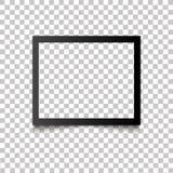 与阴影的现实空白的黑照片框架在透明背景 导航例证减速火箭的照片框架模板照片desi 免版税图库摄影