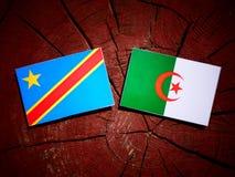 与阿尔及利亚的旗子的刚果民主共和国旗子在tr 免版税图库摄影