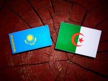 与阿尔及利亚的旗子的哈萨克斯坦旗子在被隔绝的树桩 向量例证