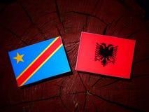 与阿尔巴尼亚旗子的刚果民主共和国旗子在tr 库存照片