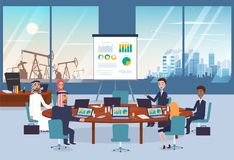 与阿拉伯伙伴的企业交涉会议的 都市风景和沙漠有油泵的在背景 向量例证