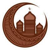 与阿拉伯寺庙的月亮 ramadan的kareem 库存例证