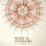 与阿拉伯文本的美好的花卉背景Eid的穆巴拉克 免版税图库摄影