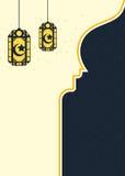 与阿拉伯样式灯笼的伊斯兰教的背景 库存照片