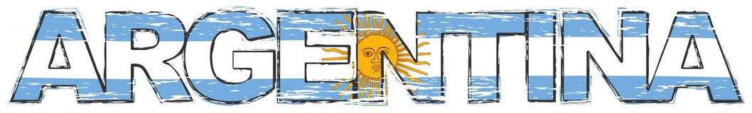与阿根廷国旗的词阿根廷在它,困厄的难看的东西神色下 向量例证