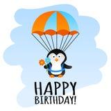 与降伞企鹅的滑稽的生日贺卡 库存例证