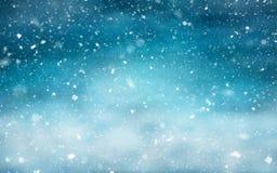 与降雪的冬天横向 免版税图库摄影