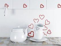 与陶器的美好的构成在厨房里 免版税库存照片
