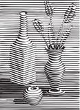与陶器,花,黑剪影的静物画 库存图片