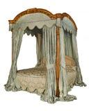 与隔绝的有四根帐杆的卧床床与夹子道路 库存照片