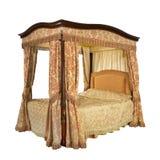 与隔绝的有四根帐杆的卧床床与夹子道路 库存图片