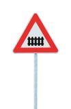 与障碍或门前面路标的平交路口,被隔绝的路标和交通标志,大详细的特写镜头 库存图片