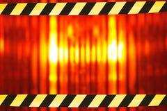 与障碍磁带的立标灯 图库摄影