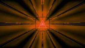 与隧道背景墙纸3d的橙色wireframe回报vjloop 皇族释放例证