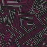 与难看的东西作用的抽象桃红色部族无缝的样式 图库摄影