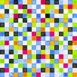 与难看的东西作用的色的正方形无缝的样式 库存图片
