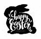与难看的东西兔宝宝和书法文本的复活节Pastcard 图库摄影