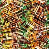 与难看的东西的无缝的样式镶边了混乱方形的五颜六色的元素 库存照片