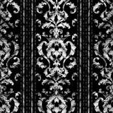 与难看的东西皇家冠的镶边巴洛克式的无缝的样式 库存照片