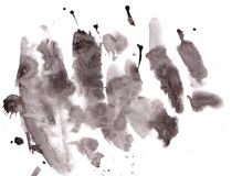 与难看的东西纹理减速火箭的作用的黑水彩墨水横幅 库存图片