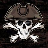有帽子的海盗头骨 图库摄影